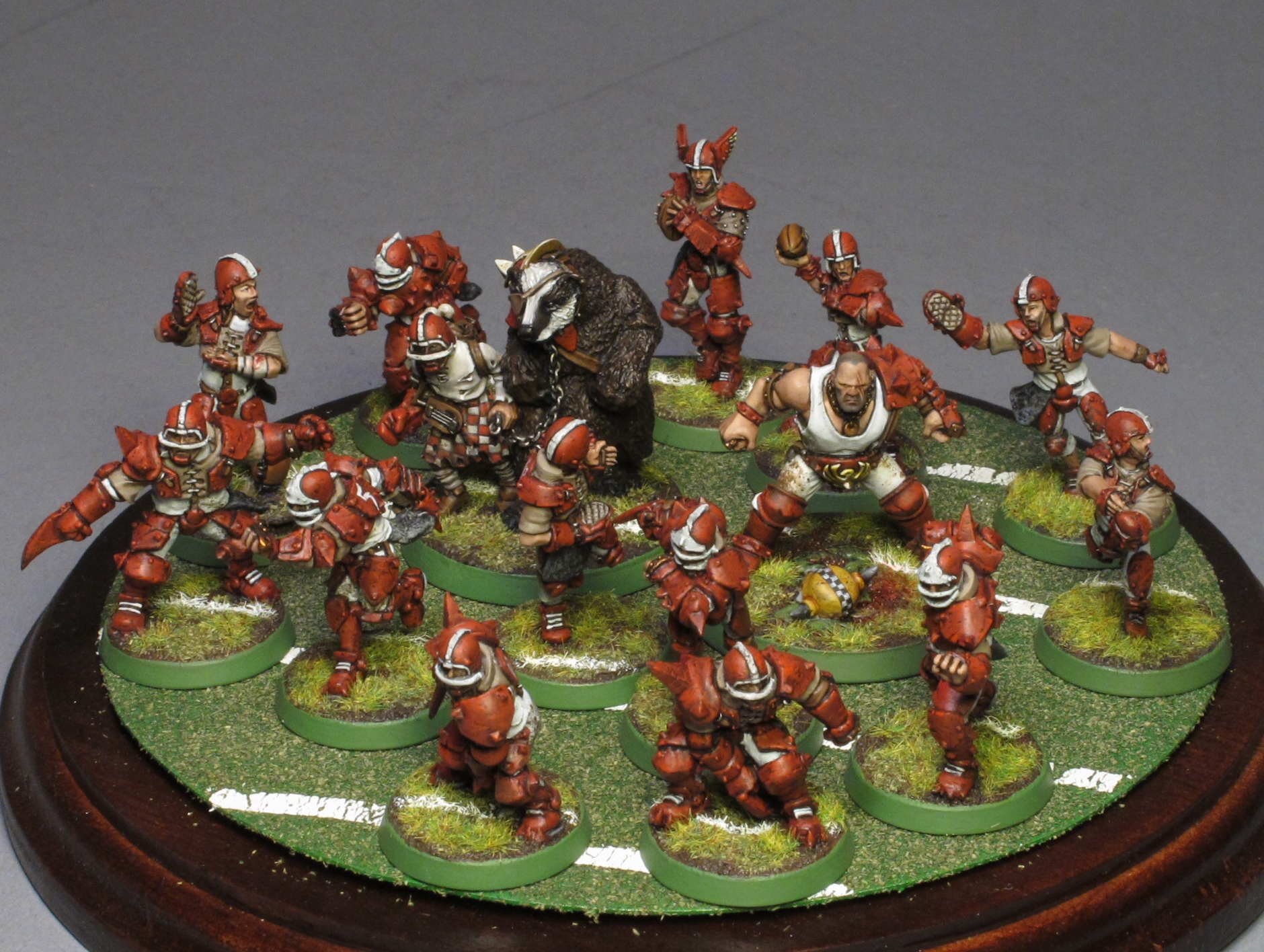 A beautifully painted human blood bowl team